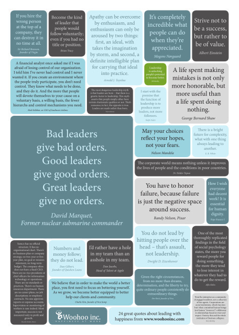 24 great quotes about leading with happiness - citatplakat om ledelse med glæde